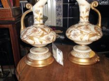PAIR ANTIQUE CREAM GLASS HIGHLY RICH GILDED JUGS CONVERTED LAMPS 1=TLC TO REWIRE